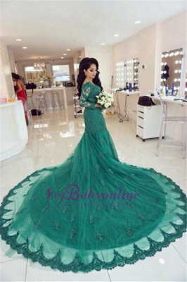 2019 Green Lace Evening Gowns Long Sleeves Beaded Mermaid Formal Dresses_5