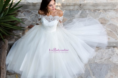 Lace Ball-Gown Simple Floor-length Off-the-shoulder Half-sleeves Wedding Dress_1