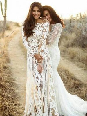 Column Bateau Long Sleeves Open Back Lace Wedding Dress_1
