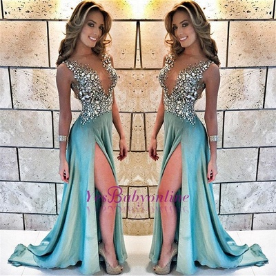 Sleeveless A-line Straps Delicate Crystals Front-Split Prom Dress_1