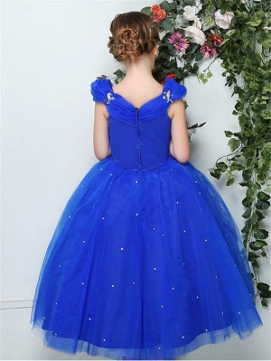 Cute Ball Gown Tulle Cap Sleeves Straps Flower Girl Dress with Beading_3