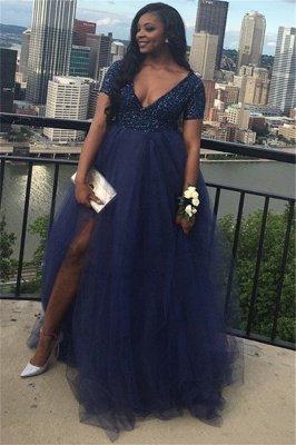 V-Neck  Short-Sleeves A-line Plus-Size Prom Dress_3