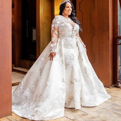 Jewel Gorgeous Long Sleeves Lace Wedding Dresses With Detachable Skirts_2