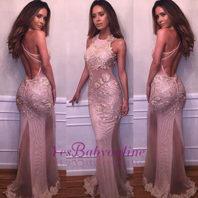 Sexy Halter Sleeveless Lace Appliques Mermaid Prom Dresses_1