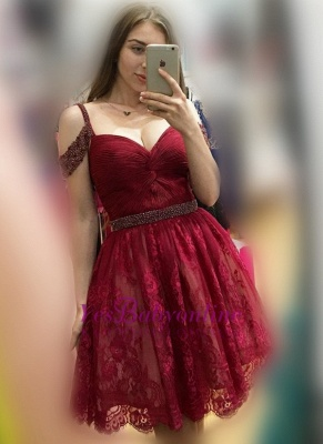 Burgundy Lace A-line Bead Off-the-Shoulder Sexy Homecoming Dresses_1