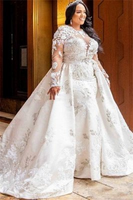 Jewel Gorgeous Long Sleeves Lace Wedding Dresses With Detachable Skirts_1