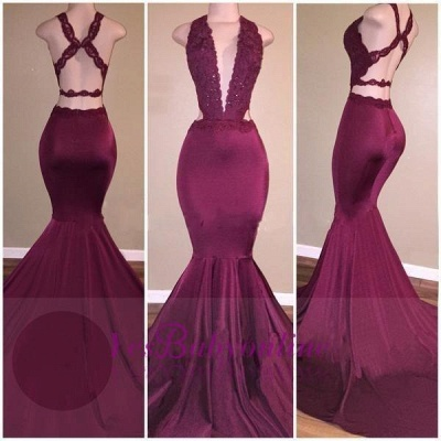 Sexy Mermaid Prom Dresses Deep V-Neck Lace Beading Crisscross Back Evening Gowns_1