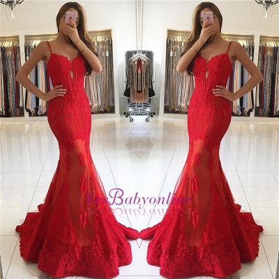 Gorgeous Spaghetti-Strap Mermaid Lace Red Evening Dress_1