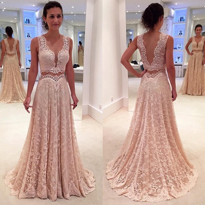 Lace Sleeveless Modern Two-Piece A-line Straps Prom Dress_3
