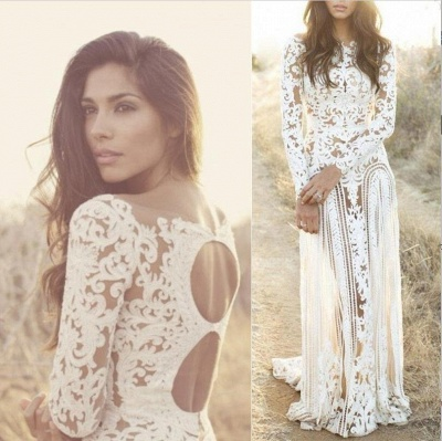 Column Bateau Long Sleeves Open Back Lace Wedding Dress_3