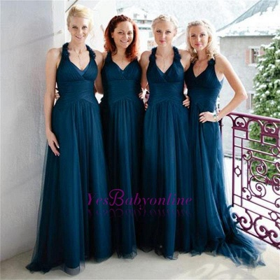 Halter Simple Elegant Floor-length Navy A-line Bridesmaid Dress_1