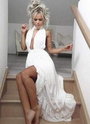 Chic Halter  Evening Dresses | Sleeveless A-Line White Prom Dresses_1
