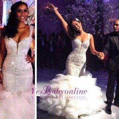 Luxurious Crystal Spaghetti-Straps Ruffles Tulle Mermaid Wedding Dress_1