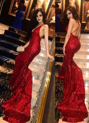 Red V-neck Mermaid Prom Dresses | Sequins Sleeveless Long Evening Gowns_1