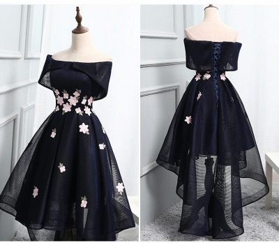 High-Low A-line Chic Flowers-Appliques Short-Sleeves Short Off-The-Shoulder Prom Dresses_3