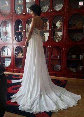 Halter Lace Chiffon Wedding Dresses with a Leg Slit_2