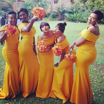 Chic Orange Mermaid Bridesmaid Dresses | Off-the-Shoulder Wedding Party Dress_3