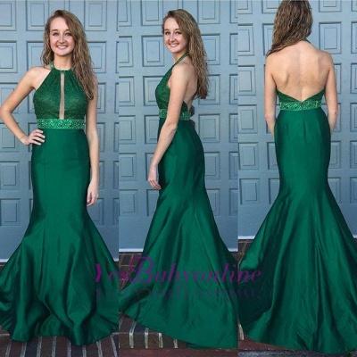 Mermaid Dark Green Prom Dresses 2019 Halter Neck Beading Backless Long Evening Gowns_1