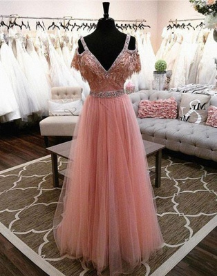Pink V-neck A-line Lace Beading Floor-length Charming Evening Dress_3