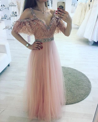 Pink V-neck A-line Lace Beading Floor-length Charming Evening Dress_2