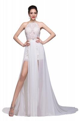 Halter Lace Chiffon Wedding Dresses with a Leg Slit_1