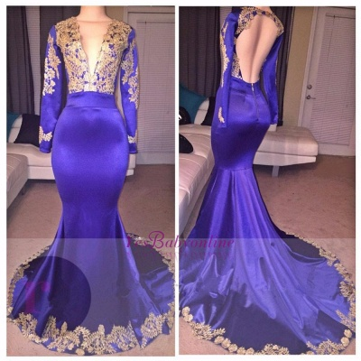 Appliques Deep-V-Neck Long-Sleeves Appliques Sexy Prom Dress_1
