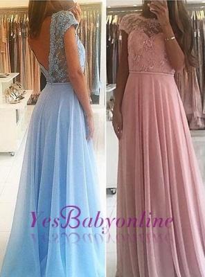 Lace Chiffon A-line Chic Short Sleevess Floor-length Evening Dress_1