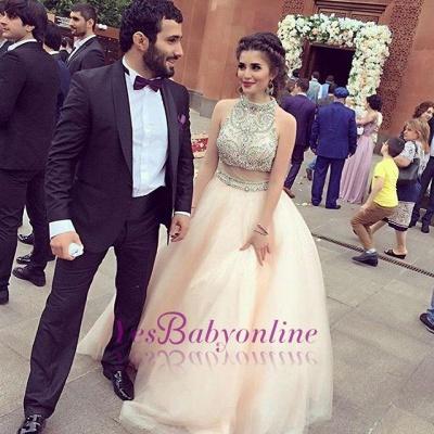 Sleeveless Charming Halter  Crystal A-Line Prom Dresses_1