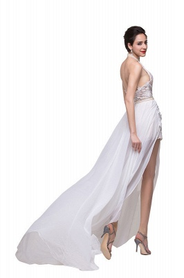 Halter Lace Chiffon Wedding Dresses with a Leg Slit_5