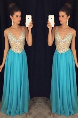 Ruffles V-Neck Crystal Sexy Popular Sleevelesss Prom Dresses_2