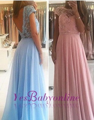 Lace Chiffon A-line Chic Short Sleevess Floor-length Evening Dress_5