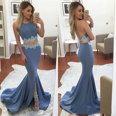 Mermaid Appliques Front-Split Backless Sexy Halter Two-Pieces Prom Dress_3