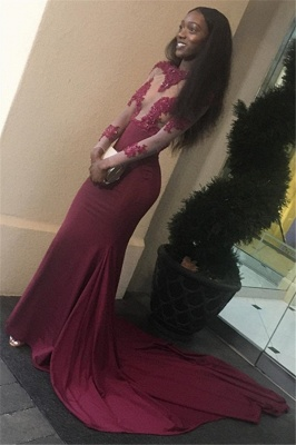 Appliques Long-Sleeves Open New-arrival Sheath Back Prom Dress_3