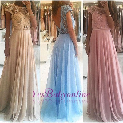 Lace Chiffon A-line Chic Short Sleevess Floor-length Evening Dress_4