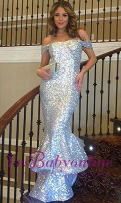 Shiny Sequins Mermaid Prom Dresses Off-The-Shoulder Sexy Silver Ruffles Evening Gowns_1