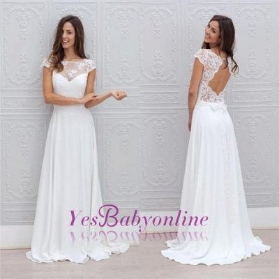 Short-Sleeves Chic Sweep Train Backless White A-line Wedding Dress_1