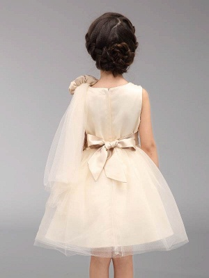 Cute A-Line Tulle Scoop Bowknot Beading Knee-Length Flower Girl Dress_3