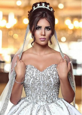 Sweetheart Ball Wedding Sleeveless Beading Dresses Gown Brilliant Bridal Gowns_4