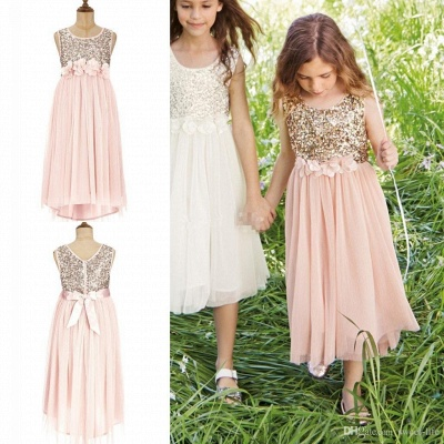 Lovely Affordable Blush Flower Girl Dresses | Sequins Bowknot Girls Pageant Dress_3