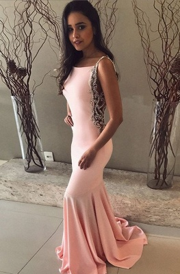 Spaghetti Sleeveless Long Prom Dresses   Pink Pearls Mermaid Evening Gowns_1