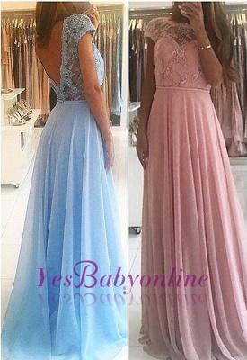 Lace Chiffon A-line Chic Short Sleevess Floor-length Evening Dress_3
