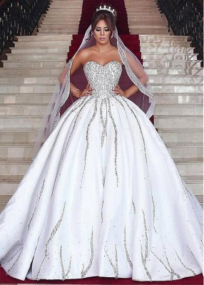 Sweetheart Ball Wedding Sleeveless Beading Dresses Gown Brilliant Bridal Gowns_2