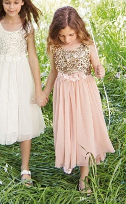 Lovely Affordable Blush Flower Girl Dresses | Sequins Bowknot Girls Pageant Dress_1