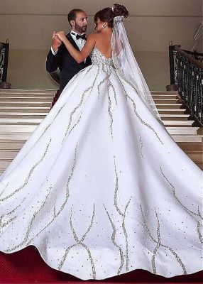 Sweetheart Ball Wedding Sleeveless Beading Dresses Gown Brilliant Bridal Gowns_3
