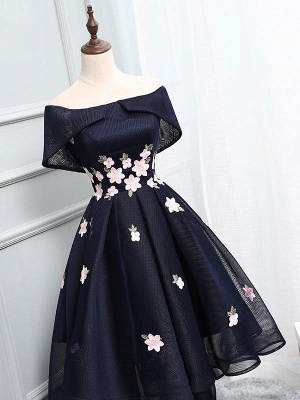 High-Low A-line Chic Flowers-Appliques Short-Sleeves Short Off-The-Shoulder Prom Dresses_2