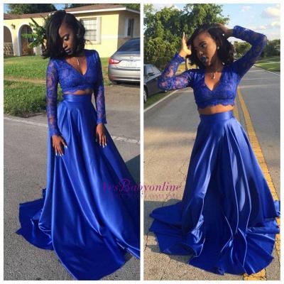 Lace Long-Sleeve Royal-Blue Two-Piece V-neck Prom Dress_1