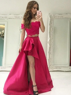 Chic Beading Two-Piece Prom Dresses   Lace Off-the-Shoulder Hi-Lo Party Dresses_1
