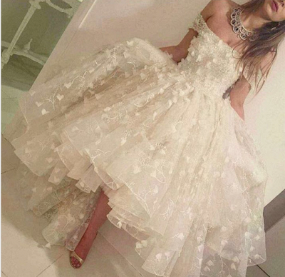 Romantic Hi-Lo Prom Dresses Off-the-shoulder 3D-Floral Appliques Party Dresses_3