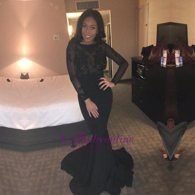 Lace Backless Mermaid Sheer Long-Sleeves Sexy Black Evening Gown_1