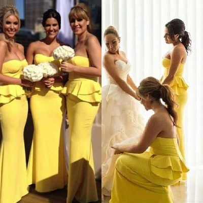 Long Peplum Bright-Yellow Mermaid Ruffles Bridesmaid Dresses_3